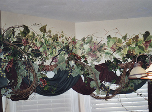 Mural, Grapevine Accenting a Breakfast Nook