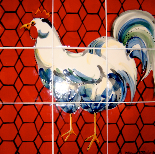 Mural, Chicken Wire Tabletop with Rooster