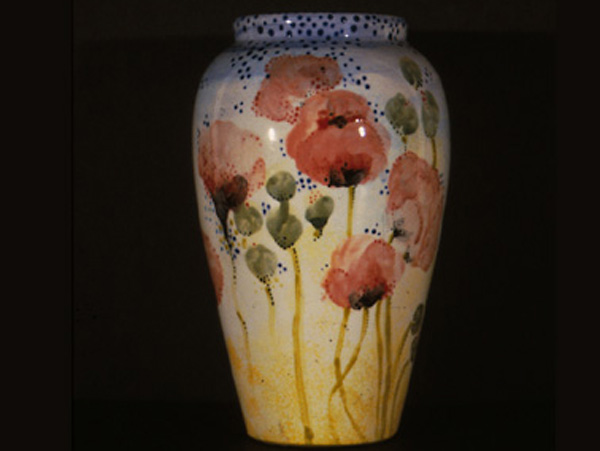 Pottery, Chinese Inspired Vase with Poppies