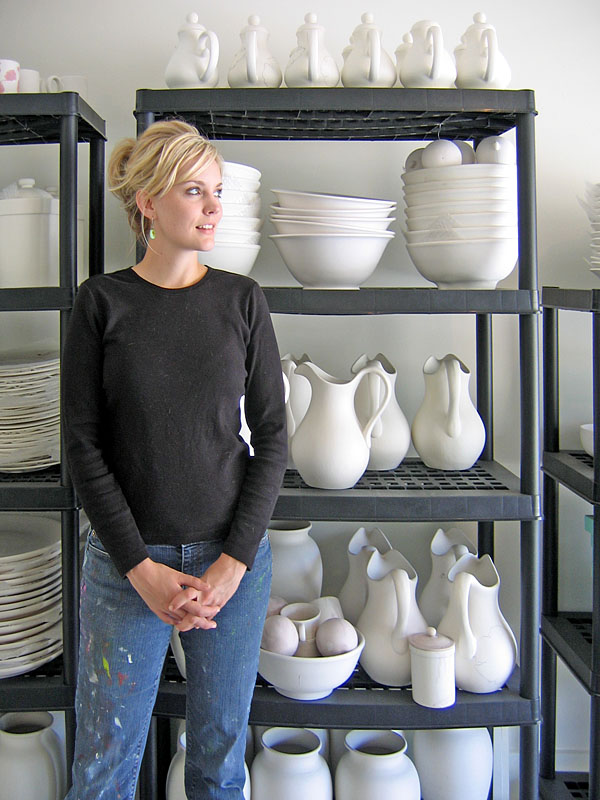 Tiffani with Her Pottery