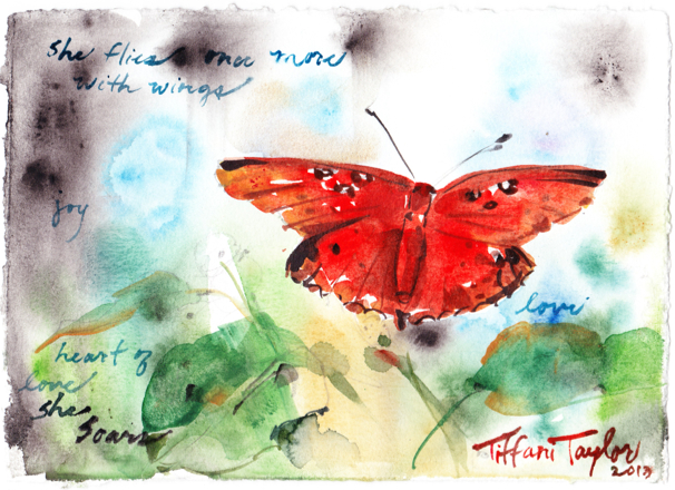 """Butterfly: she flies once more... with wings... joy... heart of love"""