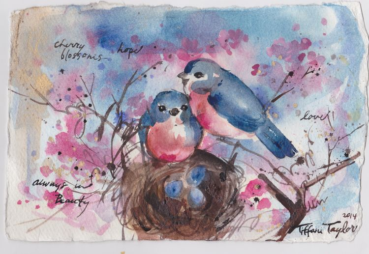 Two Bluebirds:  Cherry Blossoms
