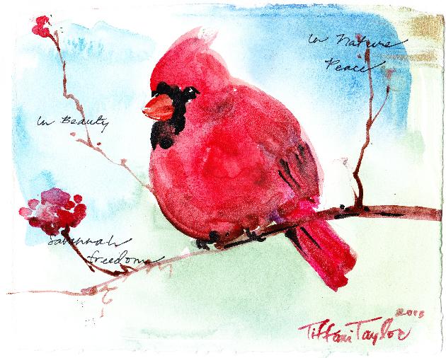 Cardinal:  In Nature, Peace, In Beauty, Savannah, Freedom