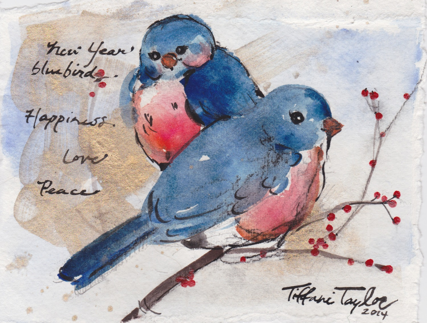 New Year Bluebirds: Happiness, Love, and Peace...