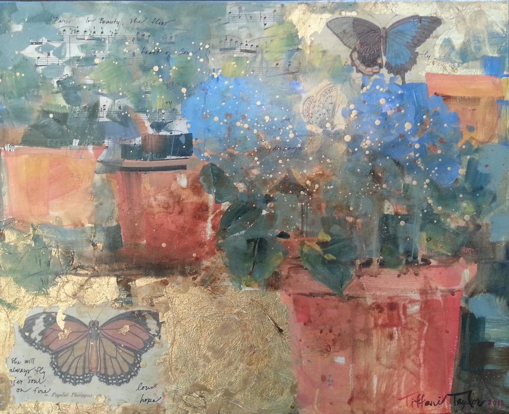 At the Flower Market: Monarch and Hydrangeas, Expressionistic Composition