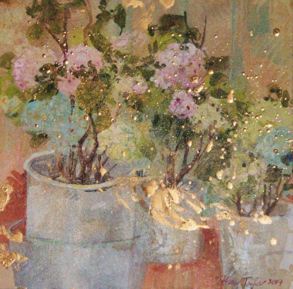 Hydrangeas and Gold Patina