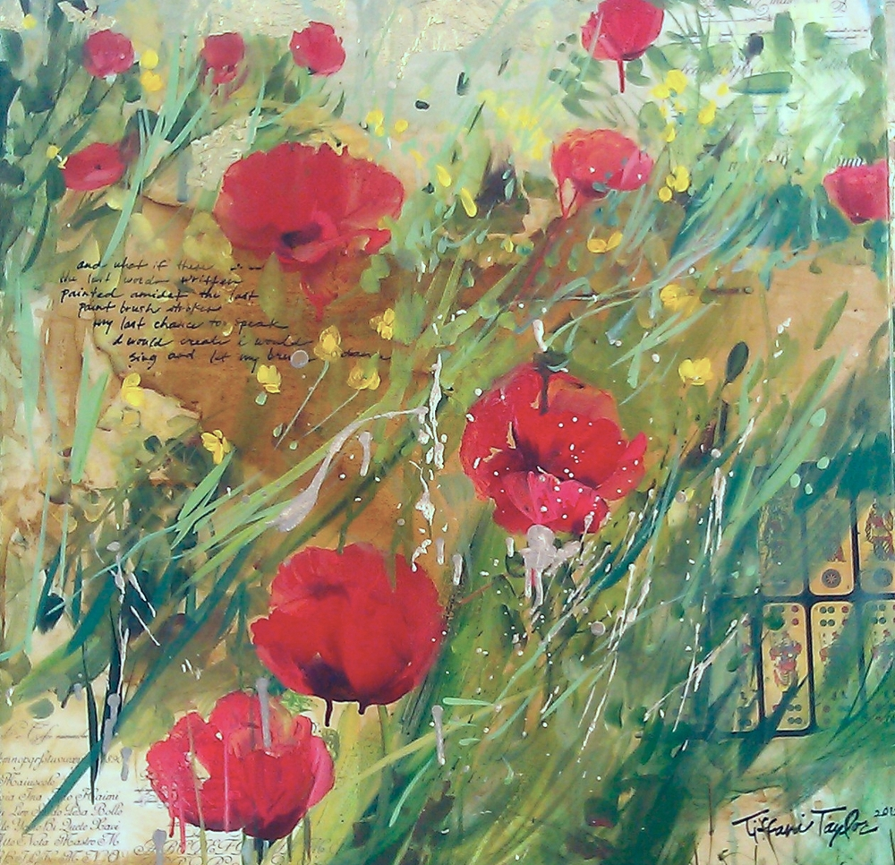 Expressionistic Red Poppies: Yellow Wild Flowers, Italy