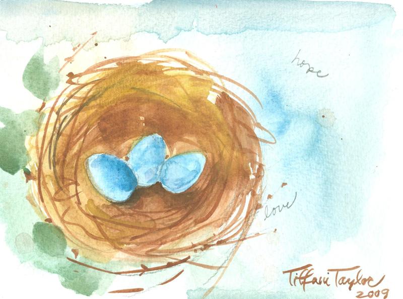 Nest: Trio of eggs, hope