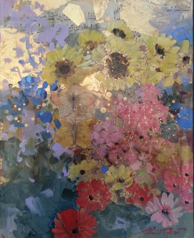 Harmony: Golden Sunflowers Accentuated with Brilliant Blooms and Abstractions of Pink and Gold