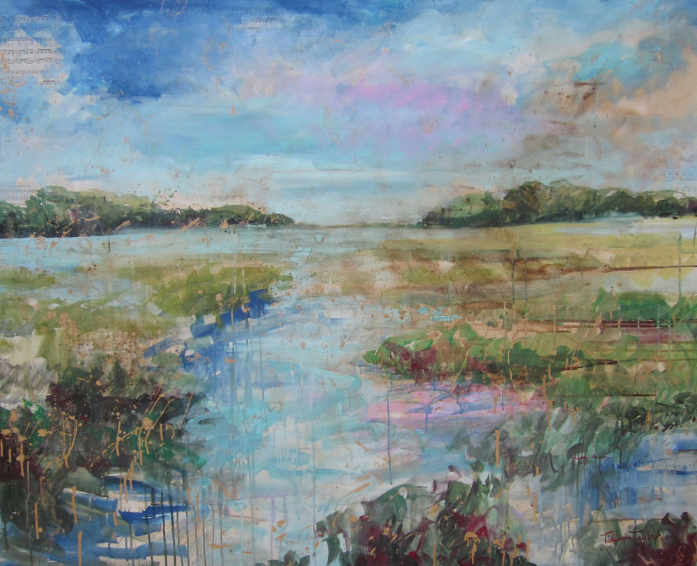 Expressionistic Marsh:  Moon River