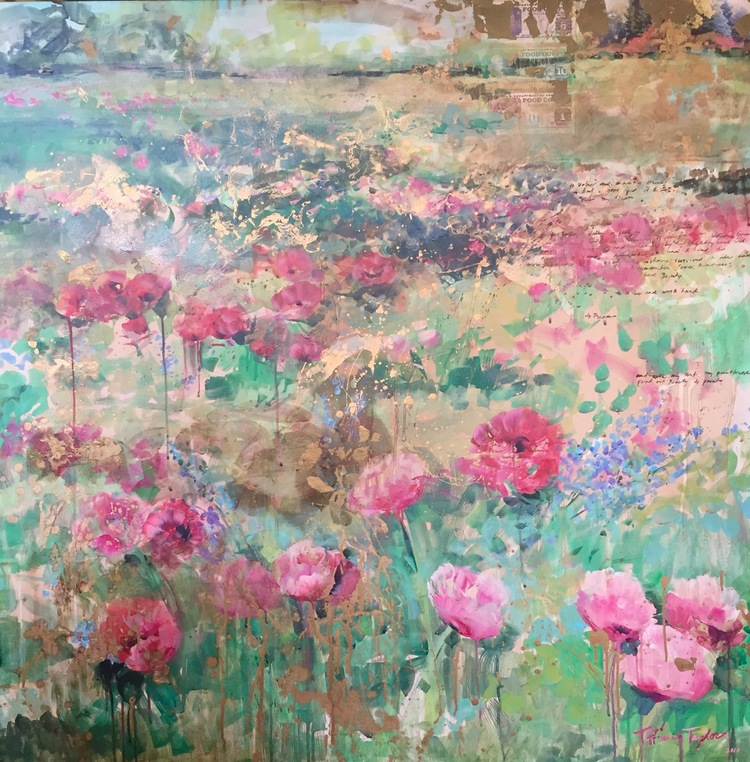 "Pink Poppies: Remember... 48"" x 48"""