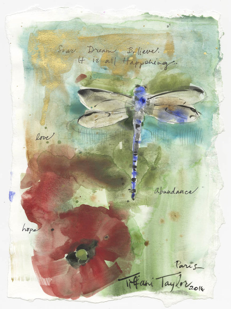 "Dragonfly: Love, Abundance, Hope... 11""x 7 1/2"""