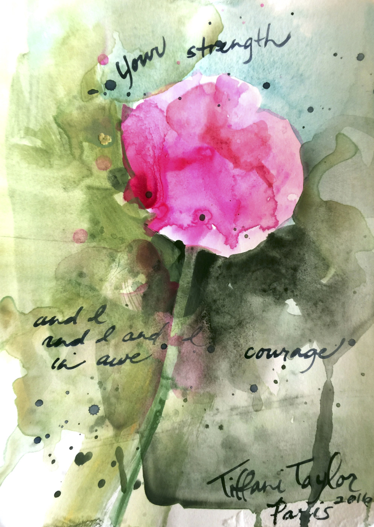 "Pink Poppy: Your strength 5.5"" x 8"""