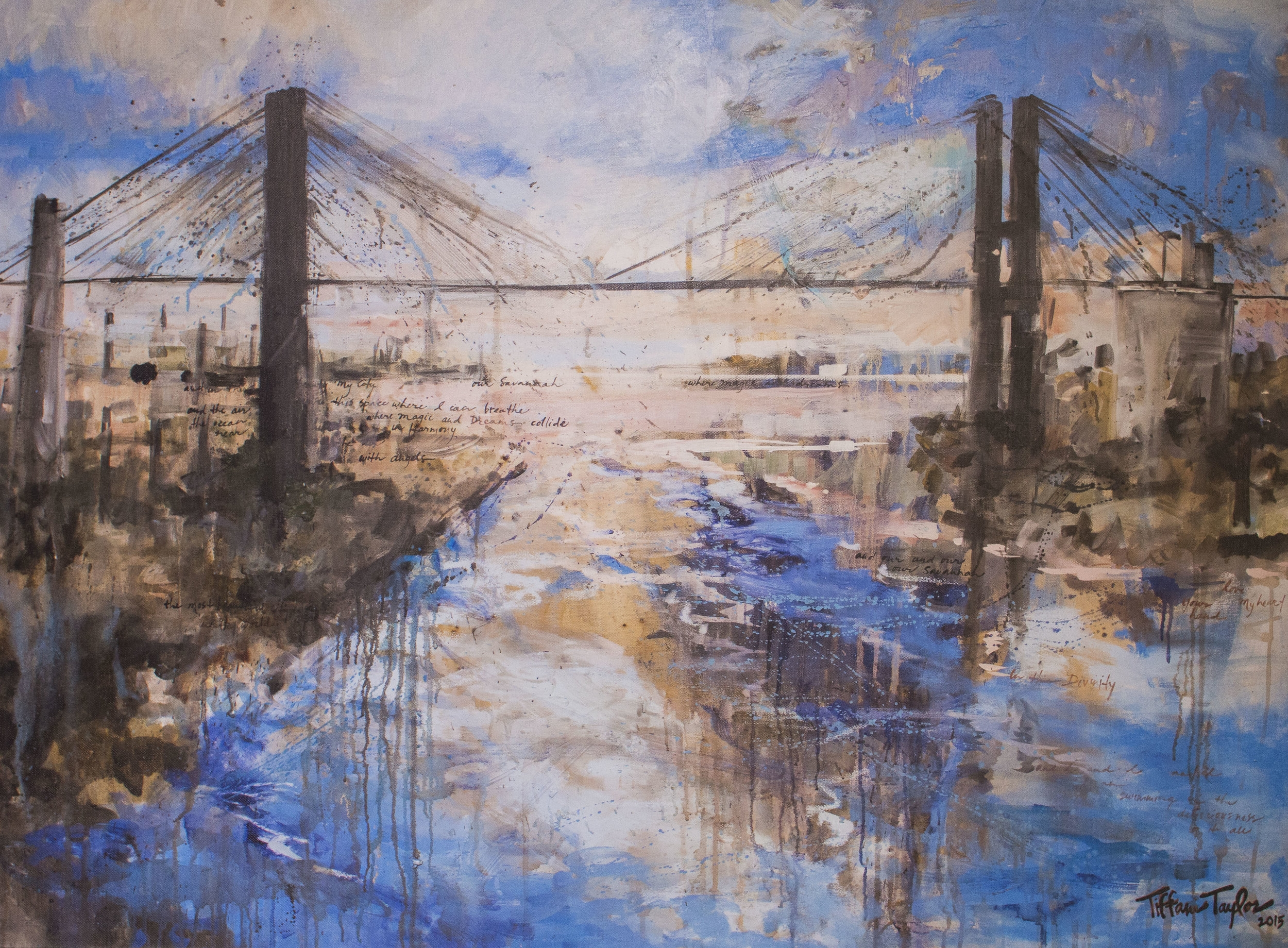 "Talmadge Bridge: Savannah, the Most Beautiful City in the World 48"" x 36"""
