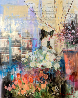At the Flower Market in Paris: Beauty and Light 36x29