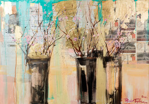 Cherry Blossoms with Gold: In Paris... 26x32