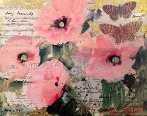 Pink Poppies: Butterflies     11x14