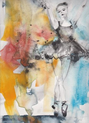 Ballerina: Harmony in Blue and Orange 16x11