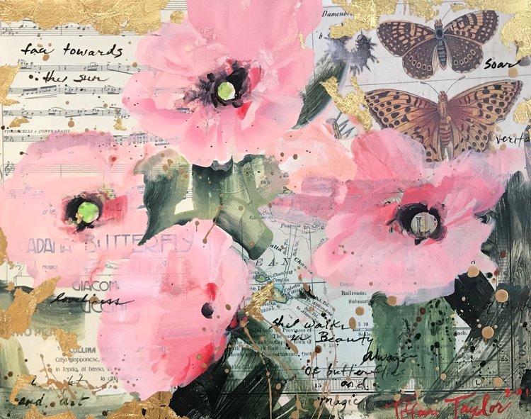 Pink Poppies: Butterflies