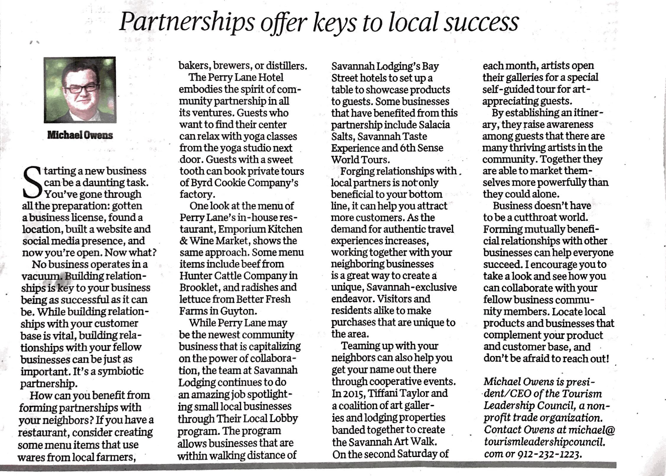 Business section of Savannah Morning news writes on the Savannah Art Walk and Tiffani Taylor