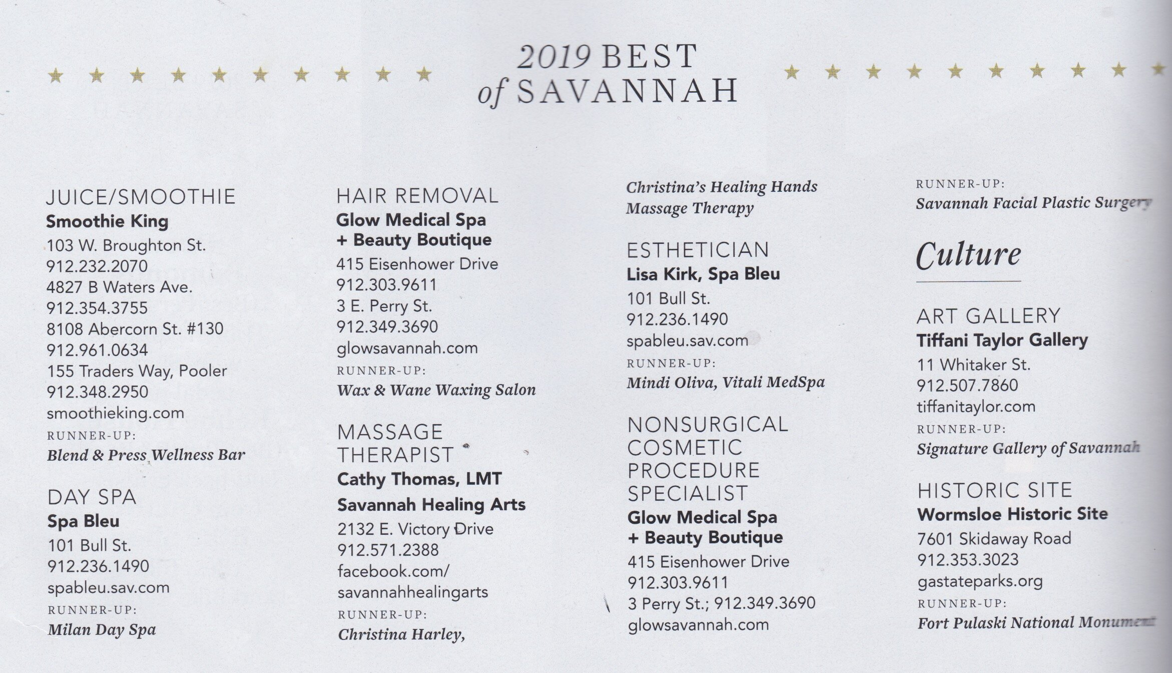 HOW IT WORKS: - The Best of Savannah winners were determined by reader votes alone. Only one ballet per person was accepted; duplicate ballots and those without a verifiable name and address were automatically disqualified. Savannah magazine does not control how individuals campaigned.( Page 154, Left Side Column )