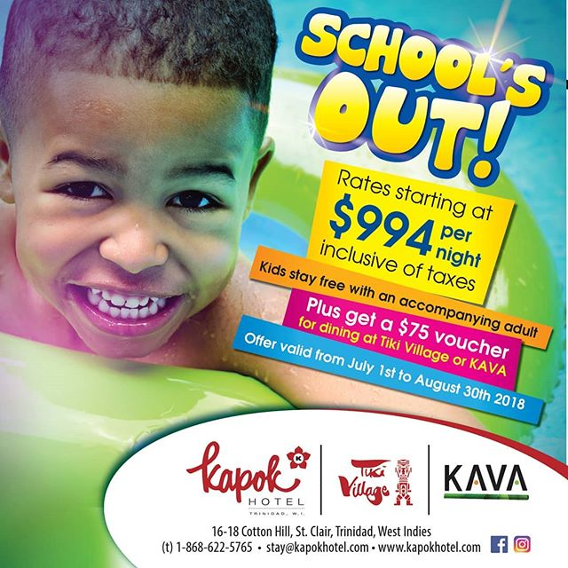 School's nearly out and it's time for family time at Kapok! Bring the kids and enjoy a special rate of $994 per night, a $75 dining voucher for Kapok Tiki Village and KAVA, free daily buffet breakfast, the swimming pool and much more. Special rates are available from July 1 to August 30, 2018. Call us today at 622-5765 to reserve your family staycation. 🌸 #kapokiscalling #kapokhotel #kavarestaurant #tikivillage #queensparksavannah #trinidadandtobago