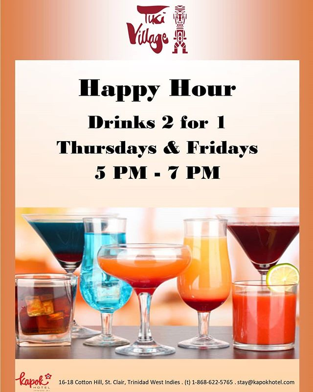 What better way to enjoy a Thursday or Friday evening than our new happy hour at Tiki Village? Stop by from 5pm to 7pm for 2-for-1 drink specials on Thursdays and Fridays. #kapokiscalling #kapokhotel #queensparksavannah #trinidadandtobago