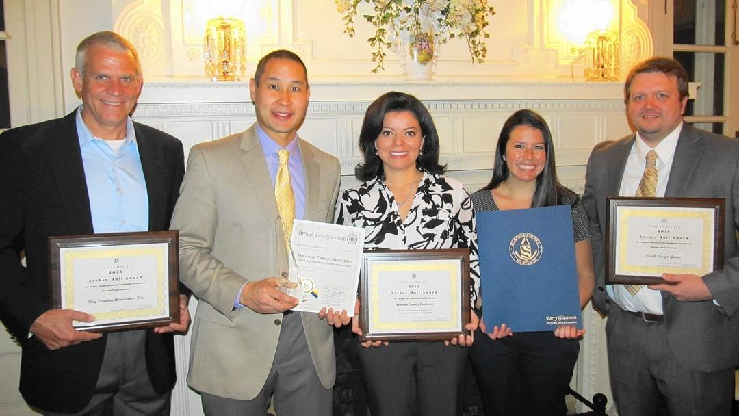 Pictured, from left, are Paul Palmer, Bay Country Associates; Dr. Alvin iranda; Carol Miranda; Dr. Christina Rosero; and Richard Rinehart, Clark Design Group. (Town of Bel Air / Baltimore Sun)