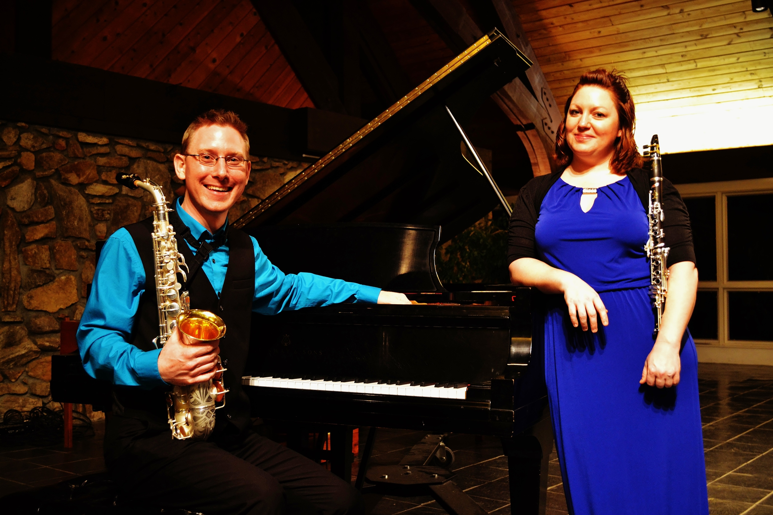 Performers Alan Theisen, alto saxophone and Lisa Kachouee, clarinet