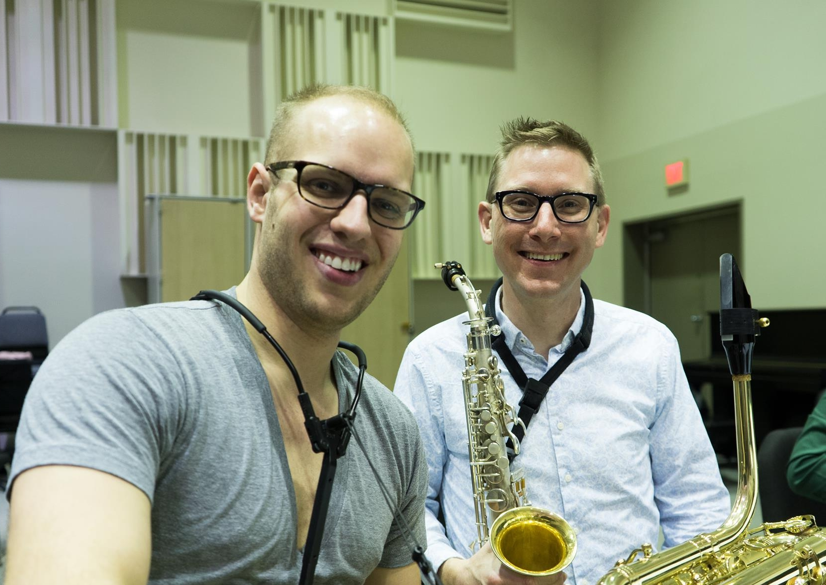 RSO performers Nick Zoulek (bass) and Alan Theisen (alto) during rehearsal