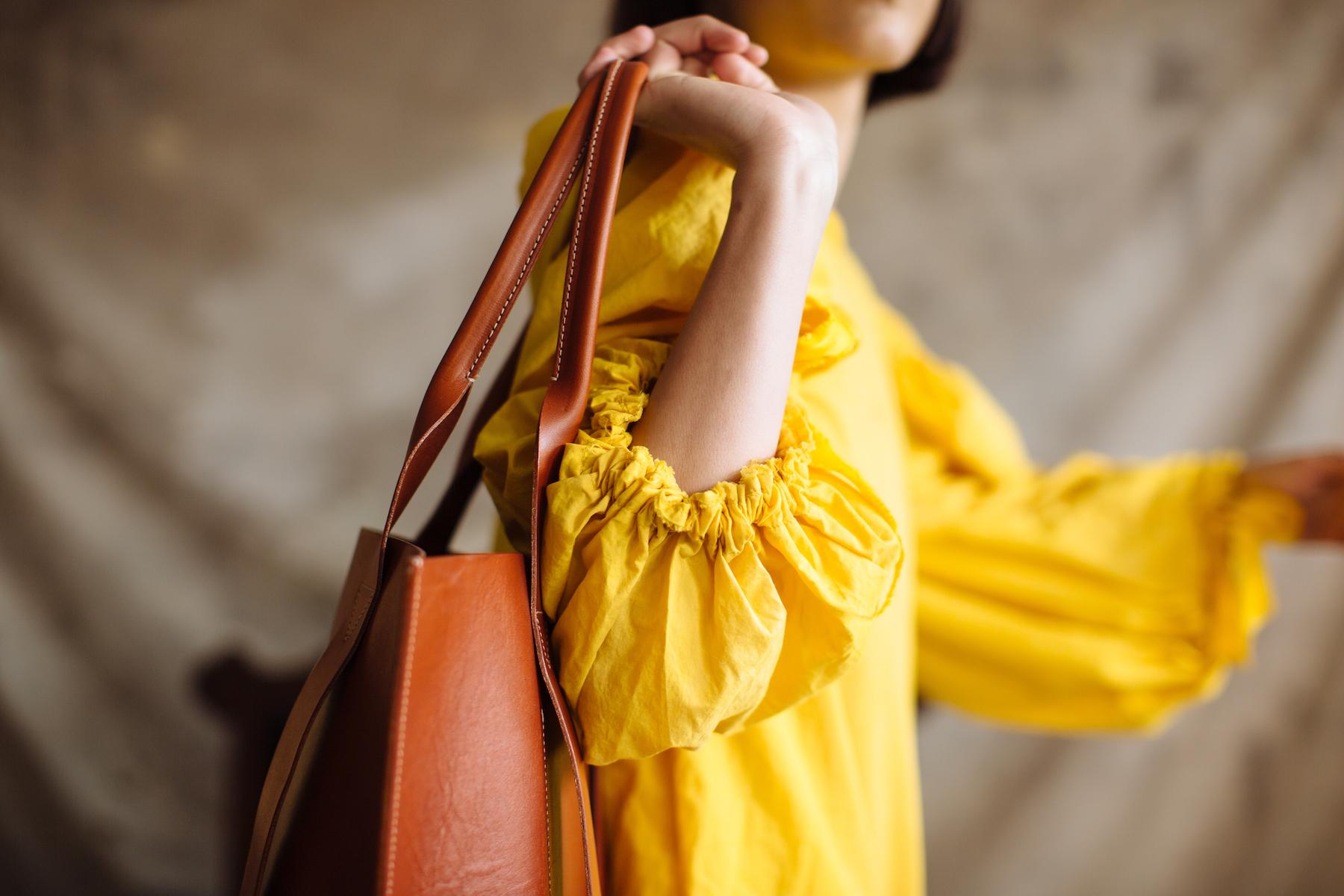 Pennyroyal Violet Bag in chestnut veg tan