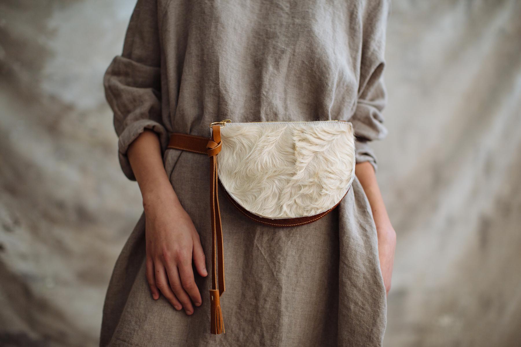 Pennyroyal Bum Bag in soft blonde hair-on cow hide