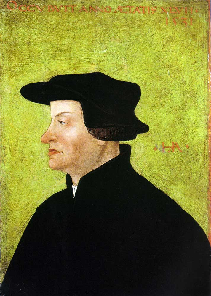 Huldrych Zwingli as depicted by   Hans Asper   in an oil portrait from 1531 (  Kunstmuseum Winterthur  ) via Wikipedia