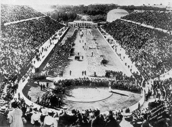 The opening ceremony of the 1896 Summer Olympics via  Wikipedia .