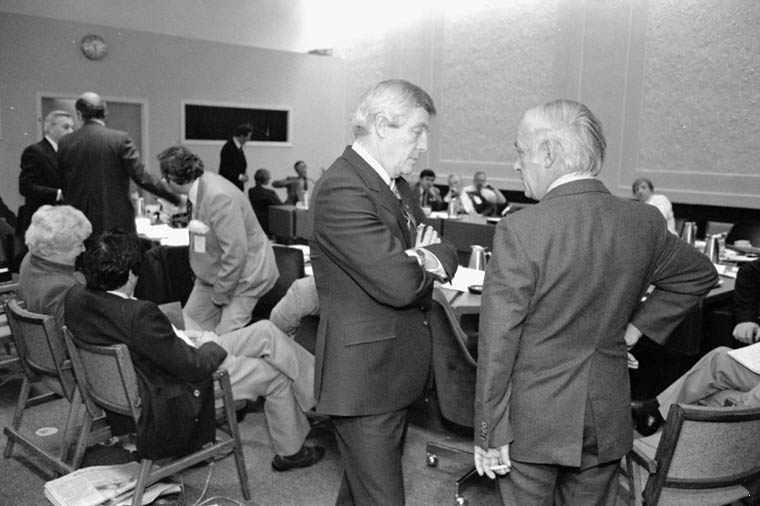 Peter Lougheed with René Lévesque, 1981 during a constitutional conference,via Library and Archives Canada.