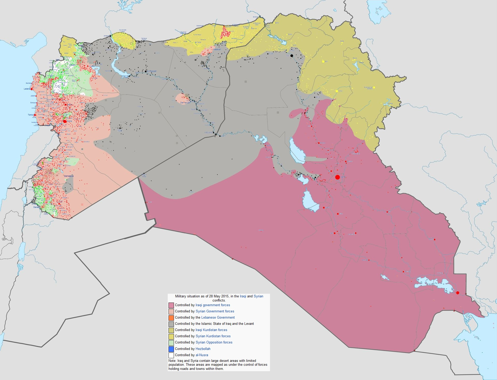 Military situation as of 28 May 2015, in the Iraqi and Syrian conflicts, via  Wikipedia .