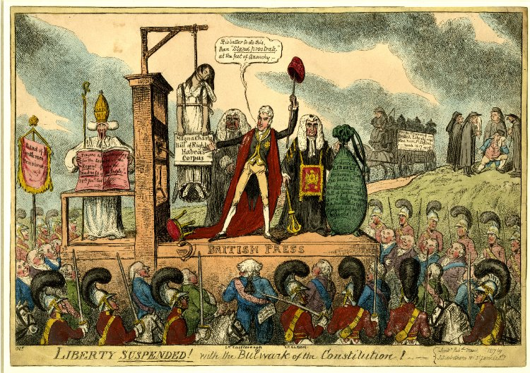 Liberty suspended! with the bulwark of the constitution! (1817); for a detailed explanation of this cartoon, visit  the British Museum website .