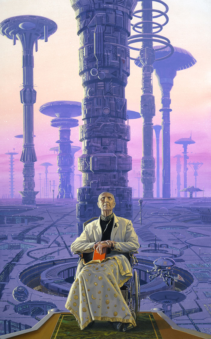 Michael Whelan 's cover for Isaac Asimov's   Foundation .