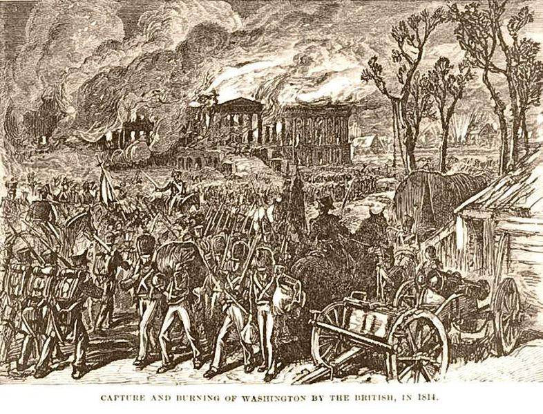 """Capture and burning of Washington by the British, in 1814,"" via  Wikipedia ."