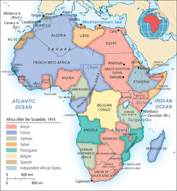 Post-Scramble for Africa, via  Histories of Dreams and Catastrophe . (Know what Atlas this map is from?  Let us know !)