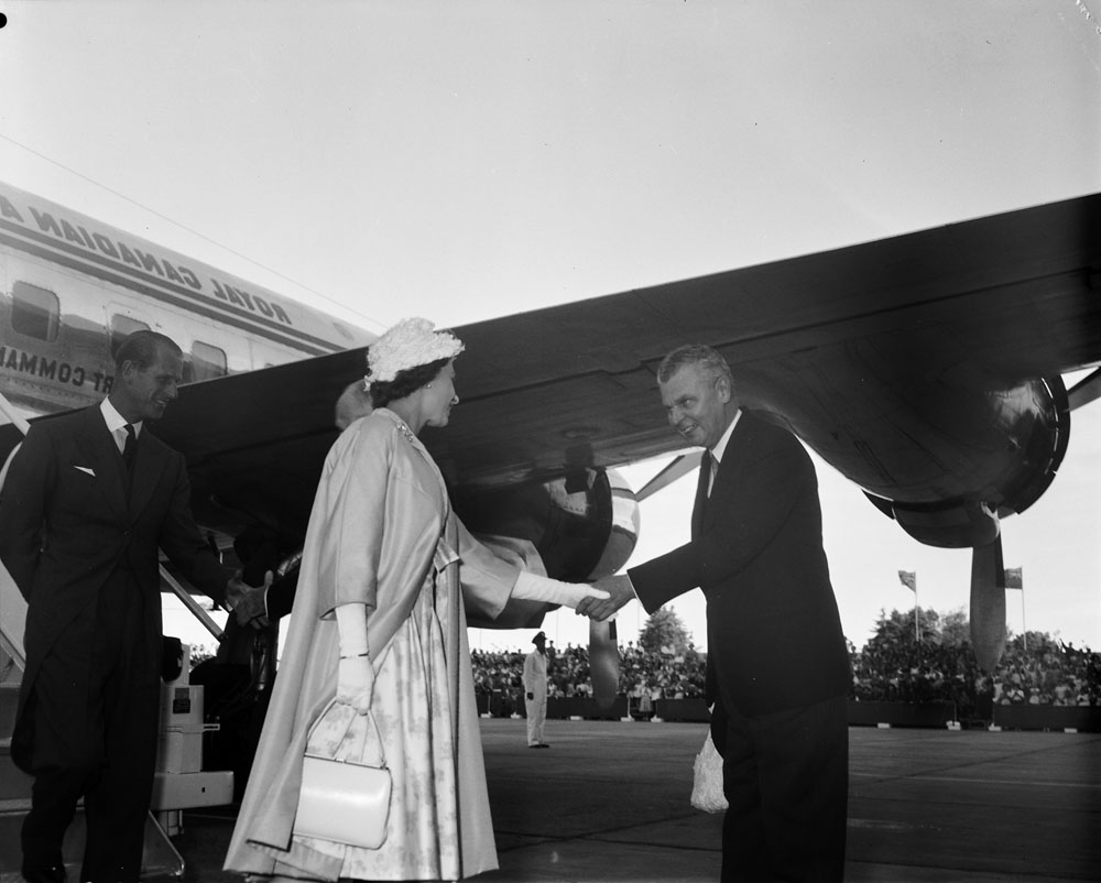 Prime Minister Diefenbaker greeting Queen Elizabeth II in 1959, via  Library and Archives Canada .
