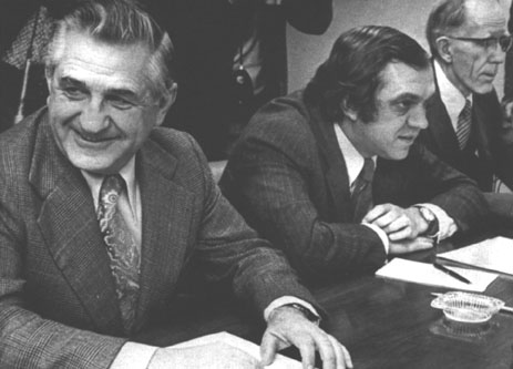 Ed Broadbent (centre) after being elected NDP leader in 1975, via  Canadian Encyclopedia .