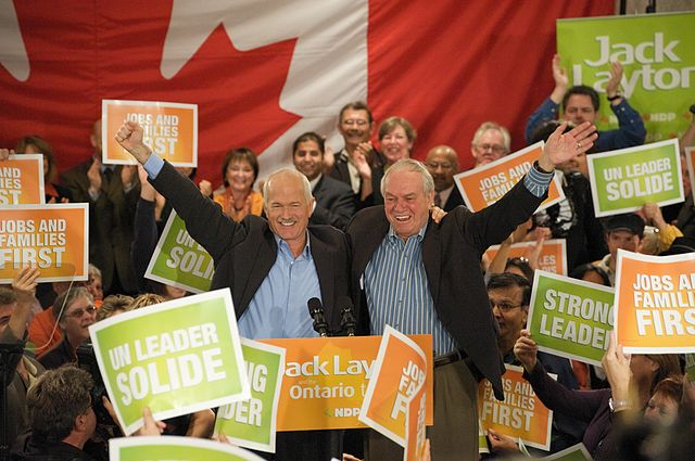 Ed Broadbent and Jack Layton at a New Democratic Party rally during the 2008 federal election, via  Wikipedia .