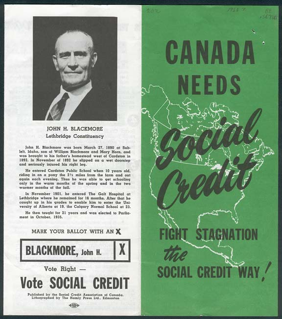 Pamphlet for Social Credit leader John H. Blackmore, via  Glenbow Archives .