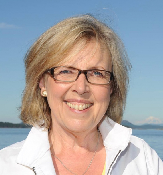 Green Party leader Elizabeth May, via  Wikipedia .