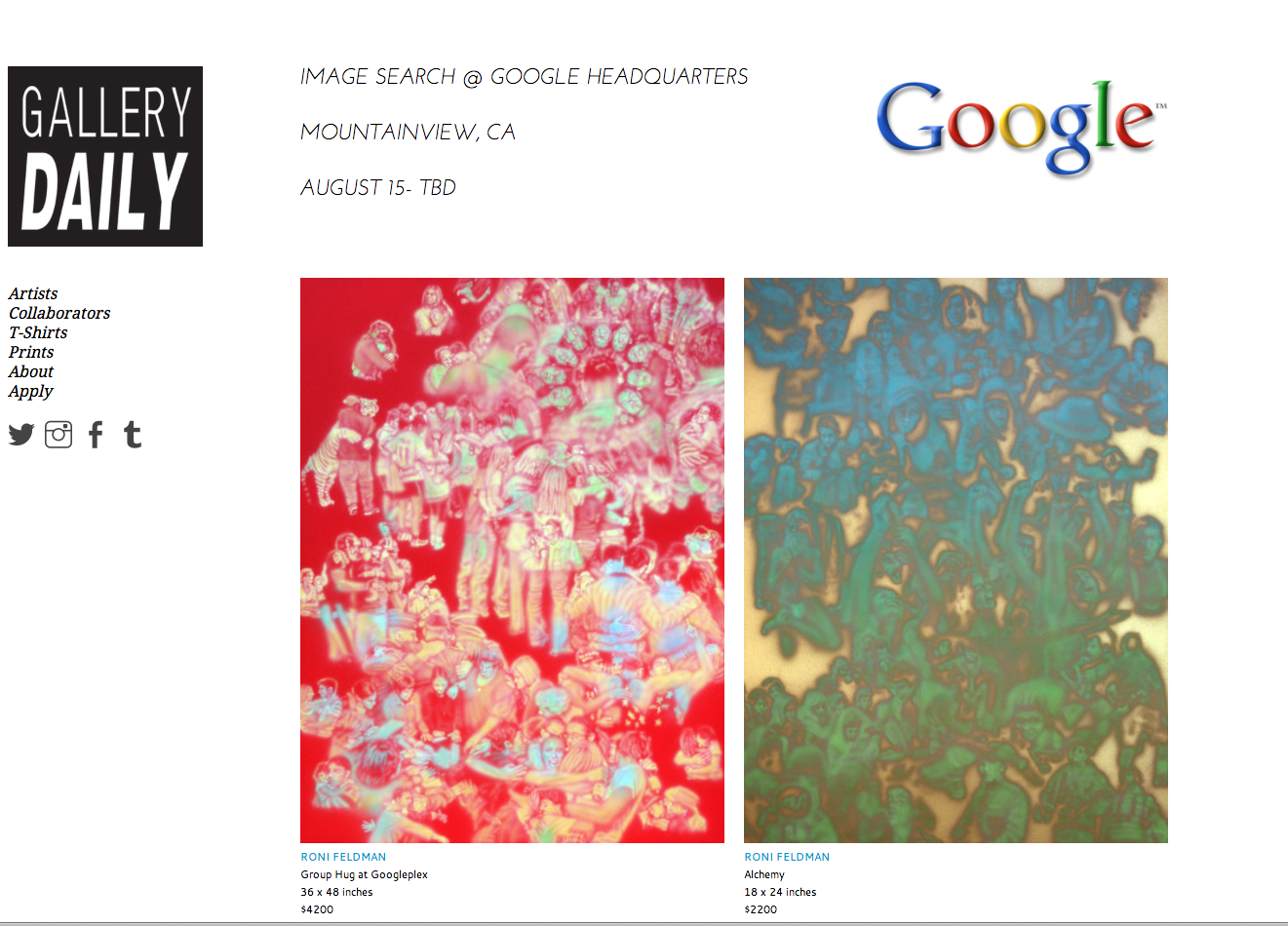 My work is up at Google Headquarters through Gallery Daily's show, IMAGE SEARCH. If you are around the area go check it out. To view the other work in the show click here.