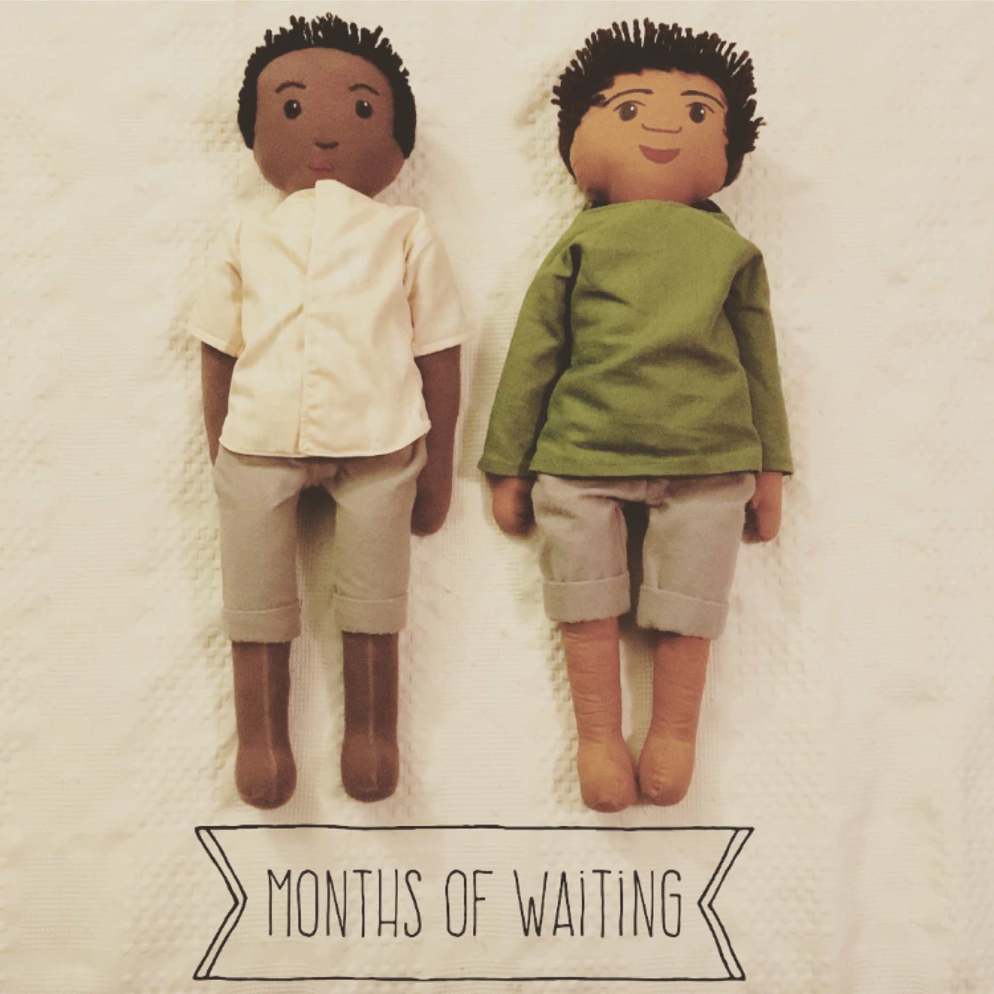 Trying to be a little more creative with the waiting photos... get it? Made the dolls an 11. These dolls were made by my friend Elizabeth Swing, who graciously let me share her story on the blog today. You can see and purchase all of her amazing creations (my current favorite is the mole with a scarf) at: https://www.etsy.com/shop/emergolde