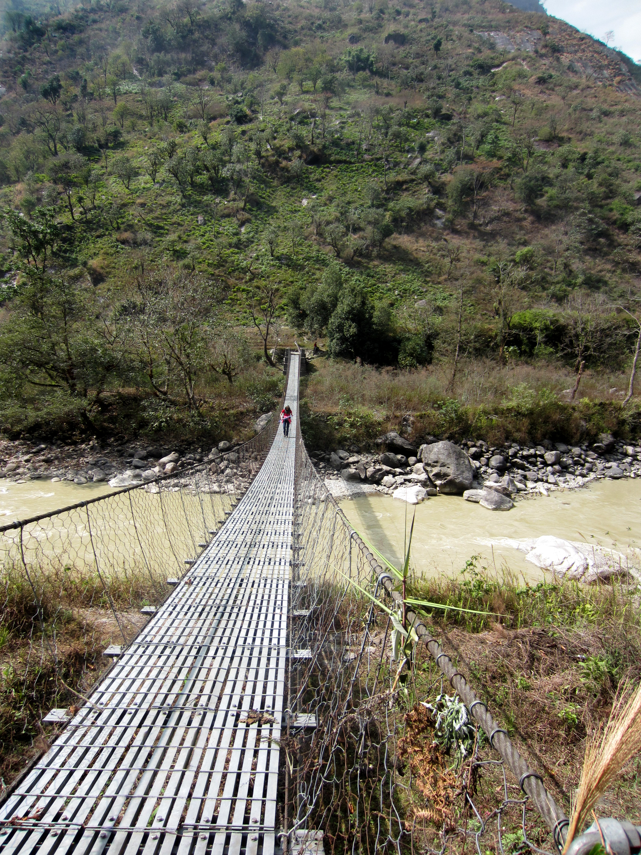 One bridge from Agatha's trek between Lhomi villages.