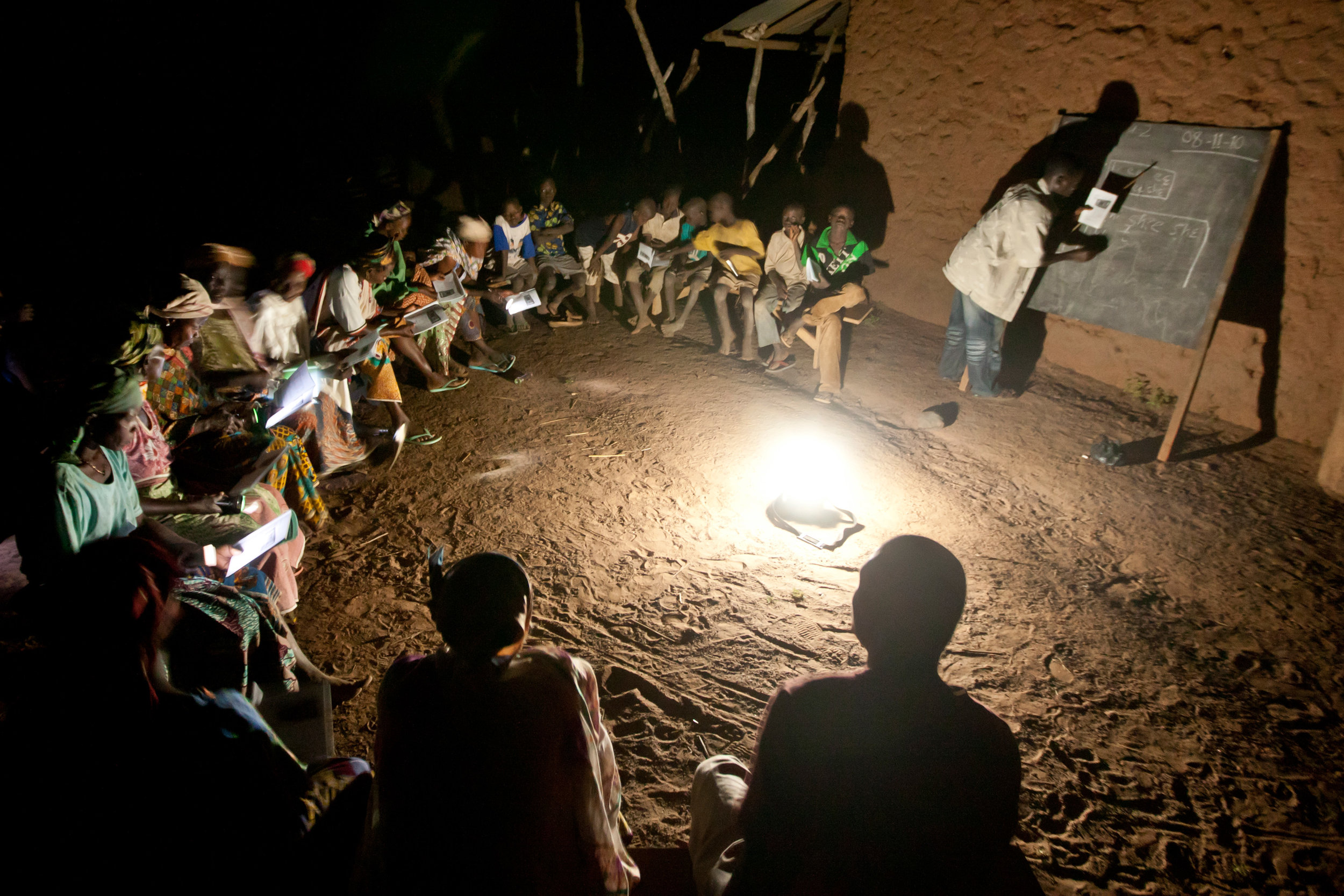 Adults, mostly women, are highly motivated to attend nighttime literacy classes after their day's work is done. But this poses challenges since many communities do not have electricity. With solar powered lights, LDP has been able to solve some of these problems.