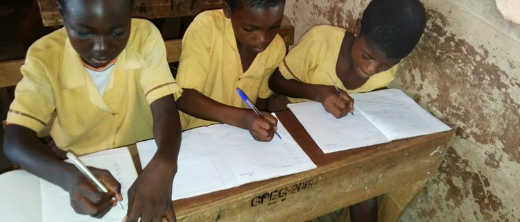 Dagomba children practicE writing in locally-purchased exercise books provided by LDP.
